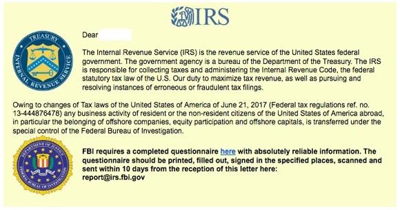 IRS / FBI Phishing Scam Image